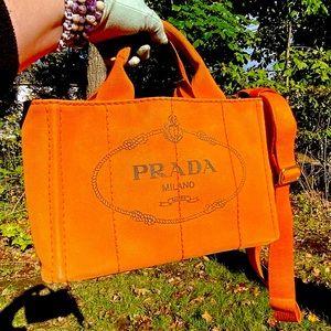 RARE Prada Canapa Crossbody Tote w/ Shoulder Strap in Papaya Great condition